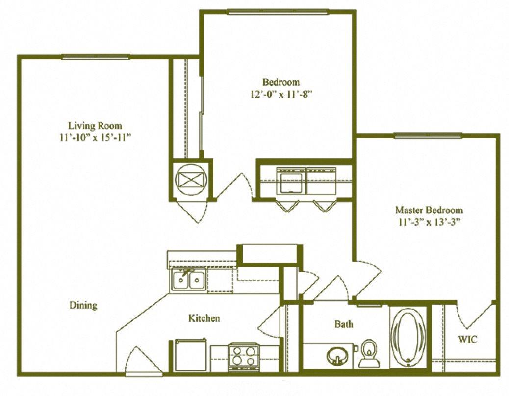 Two Bedroom One Bathroom (B1) Floor Plan 3