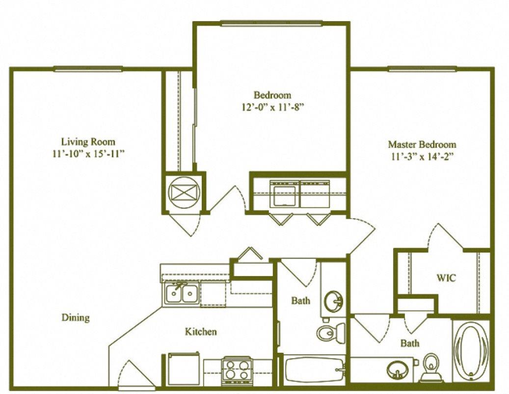 Two Bedroom Two Bathroom (B2) Floor Plan 4