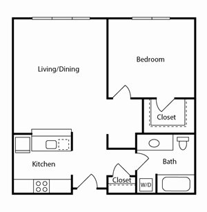 1 Bed, 1 Bath, 732 sq. ft. 1 bd 1 ba C