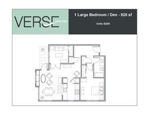 1 Bed, 1 Bath, 920 sq. ft. Large 1 Bed with Den Stack 6