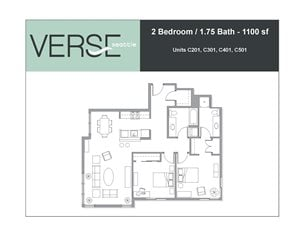 2 Bed, 1.75 Bath, 1100 sq. ft. 2 Bed 1.75 Bath Stack 1