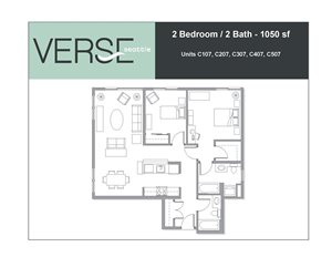 2 Bed, 2 Bath, 1050 sq. ft. 2 Bed 2 Bath Stack 7