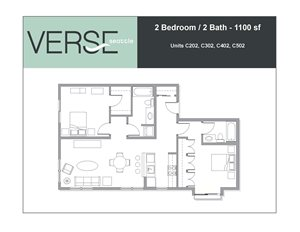 2 Bed, 2 Bath, 1100 sq. ft. 2 Bed 2 Bath 1100 Stack 2