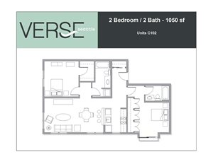 2 Bed, 2 Bath, 1050 sq. ft. 2 Bed 2 Bath 1050 Stack 2
