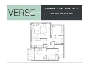 2 Bed, 2 Bath, 1100 sq. ft. 2 Bed 2 Bath with Patio Stack 6