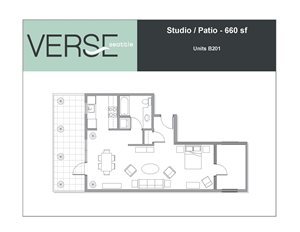 Studio, 660 sq. ft. Studio with Patio Stack 1