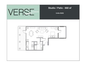 Studio, 660 sq. ft. Studio with Patio Stack 2