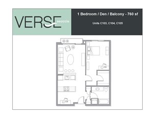 1 Bed, 1 Bath, 760 sq. ft. 1 Bed with Den and Balcony Stacks 3 4 5