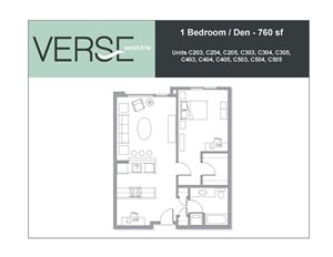 1 Bed, 1 Bath, 760 sq. ft. 1 Bed with Den Stacks 3 4 5
