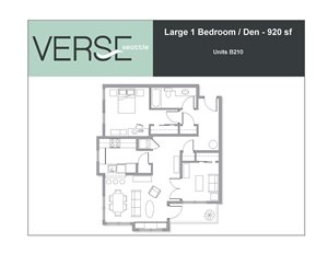 1 Bed, 1 Bath, 920 sq. ft. Large 1 Bed with Den Stack 10