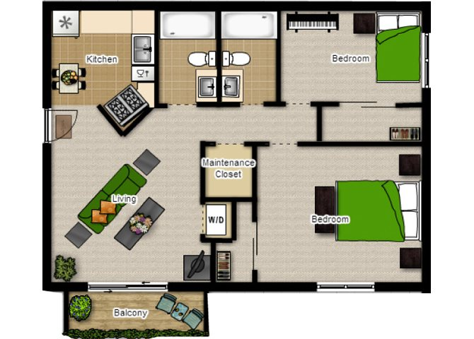 Two Bedroom with Two Baths Floor Plan at Eco Park, DeKalb, 60115