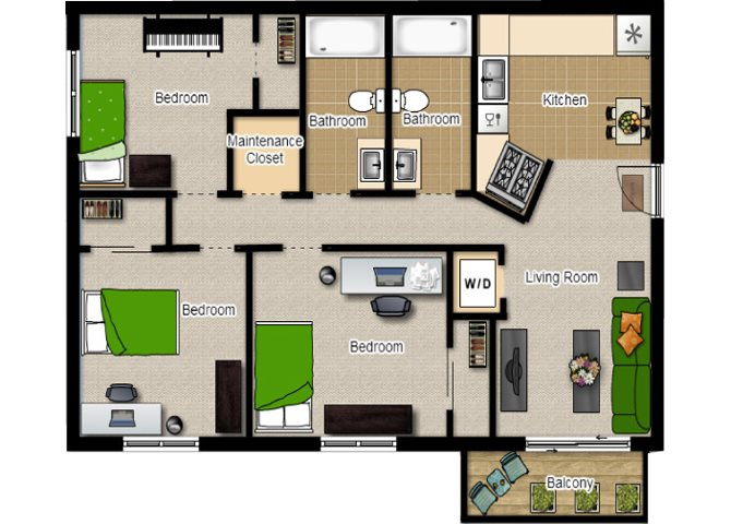 Three Bedroom with Two Baths Floor Plan at Eco Park, DeKalb, Illinois