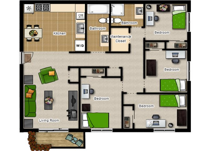 Four Bedrooms with Two Baths Floor Plan at Eco Park, DeKalb