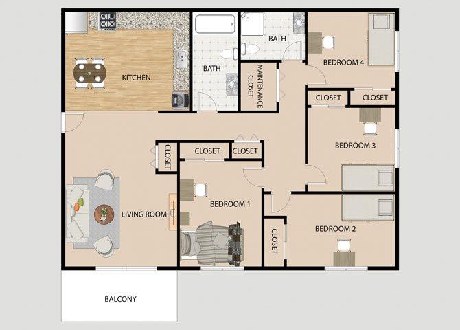 4 Bedroom 2 Bathroom Floor Plan at Eco Park Apartments