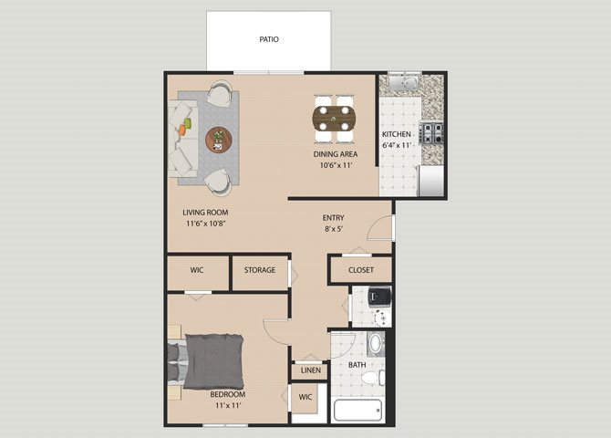 Essex 1 Bedroom 1 Bathroom Floor Plan at Willow Creek