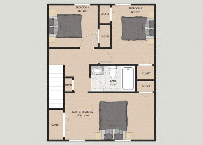 Westminster 3 Bedroom 1.5 Bathroom Floor Plan at Willow Creek