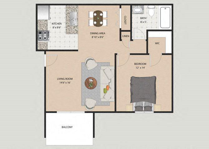 Danbury 1 Bedroom 1 Bathroom Floor Plan at Willow Creek