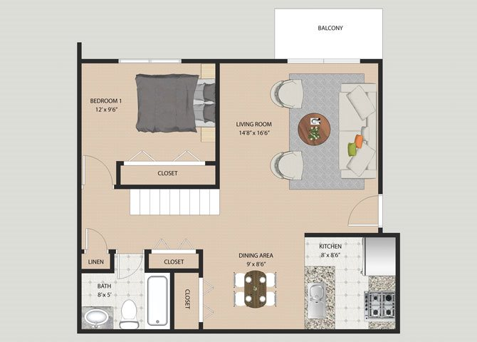Camden 2 Bedroom 2 Bathroom Floor Plan at Willow Creek