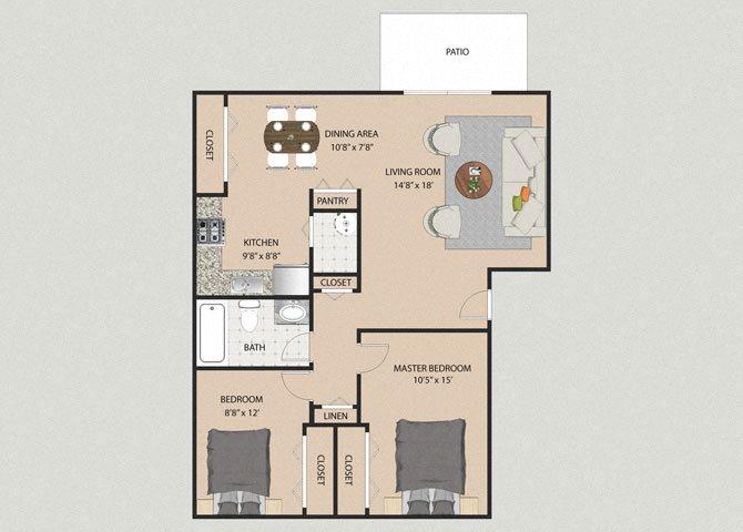 Cambridge 2 Bedroom 1 Bathroom Floor Plan at Willow Creek