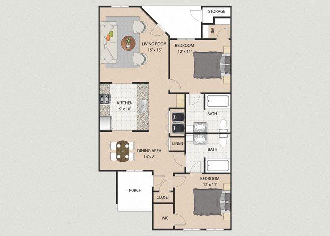 Ashton 2 Bedroom 2 Bathroom Floor Plan at Willow Creek