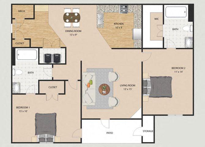 Elston 2 Bedroom 2 Bathroom Floor Plan at Willow Creek