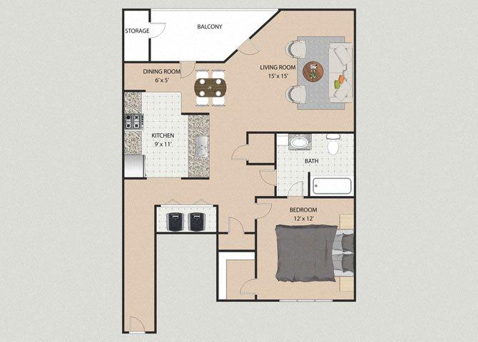 Kensington 1 Bedroom 1 Bathroom Floor Plan at Willow Creek