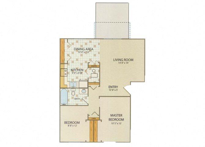 Cambridge 2 Bedroom 1 Bathroom Floor Plan at Willow Creek, Portage, Indiana