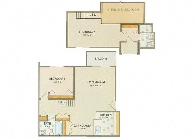 Camden 2 Bedroom 2 Bathroom Floor Plan at Willow Creek, Portage, IN, 46368