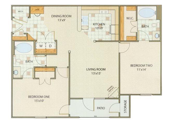 Elston 2 Bedroom 2 Bathroom Floor Plan at Willow Creek, Portage, IN