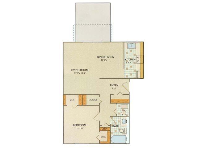 Essex 1 Bedroom 1 Bathroom Floor Plan at Willow Creek, Portage, IN