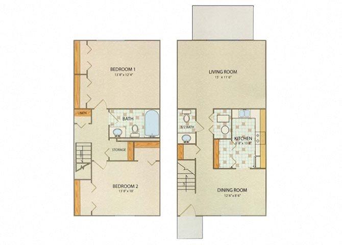 Nottingham 2 Bedroom 1.5 Bathroom Floor Plan at Willow Creek, Indiana