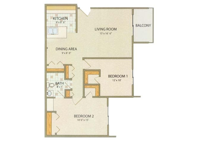 Prestwick 2 Bedroom 1 Bathroom Floor Plan at Willow Creek, Portage