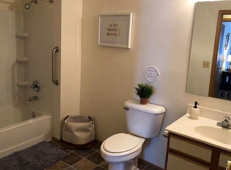 Bathroom at Prairie Landing Apartments in Sharon Wisconsin