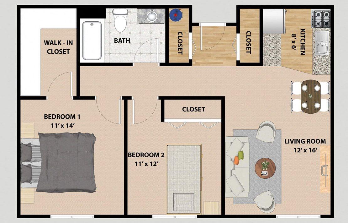 Two Bedroom One Bathroom Floor Plan at Prairie Landing