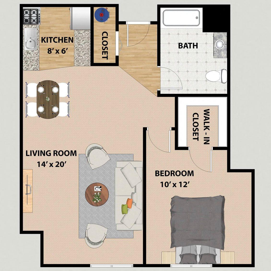 One Bedroom One Bathroom Floor Plan at Prairie Landing
