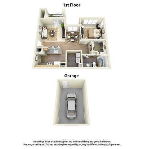 1 Bed x 1 Bath Floor Plan 1