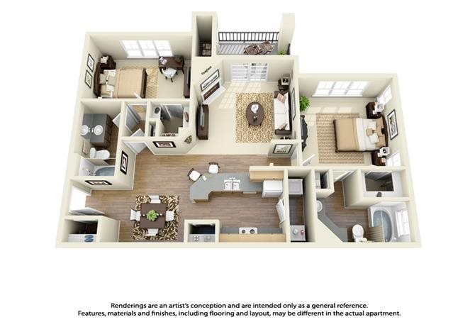 2 Bed 2 Bath Small Floor Plan 3