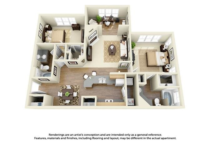 2 Bed 2 Bath Large Floor Plan 4