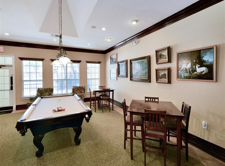 Pool table in Clubhouse at Montfort Place in North Dallas, TX, For Rent. Now leasing 1 and 2 bedroom apartments.