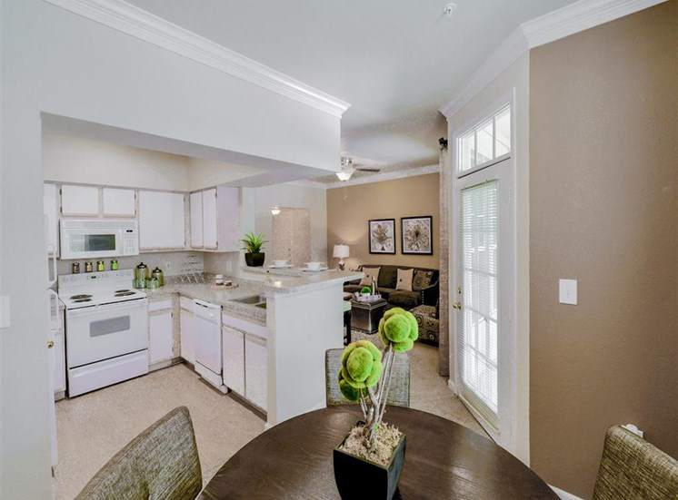 Dishwasher and open concept floor plan of Montfort Place in North Dallas, TX, For Rent. Now leasing 1 and 2 bedroom apartments.