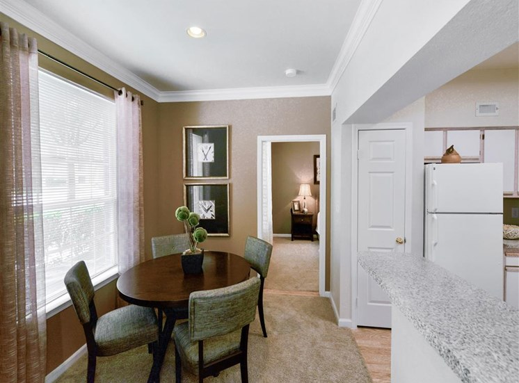Dining nook at Montfort Place in North Dallas, TX, For Rent. Now leasing 1 and 2 bedroom apartments.
