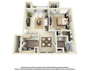1 Bedroom 1 Bath Plan 2