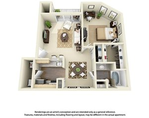 1 Bedroom 1 Bath Plan 3
