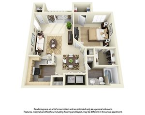 1 Bedroom 1 Bath Plan 4