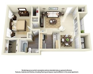 1 Bedroom 1 Bath Plan 5