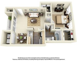 1 Bedroom 1 Bath Plan 6