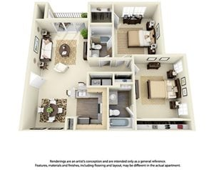 2 Bedroom 2 Bath Plan 1