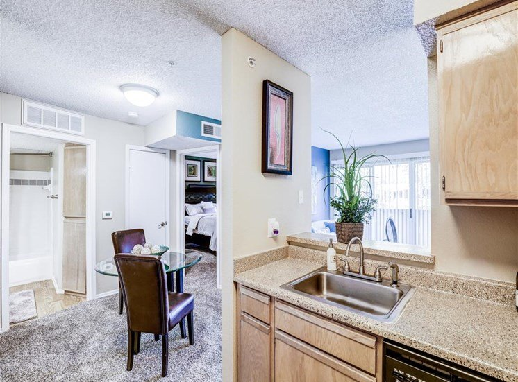 Dishwasher and disposal at Trinity Square Apartments in North Dallas, TX, For Rent. Now leasing 1 and 2 bedroom apartments.