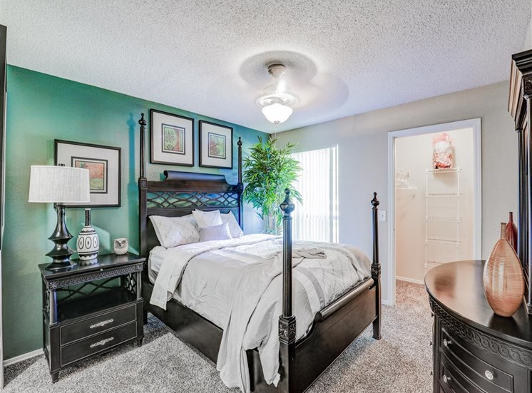 Spacious walk in closets in bedroom at Trinity Square Apartments in North Dallas, TX, For Rent. Now leasing 1 and 2 bedroom apartments.