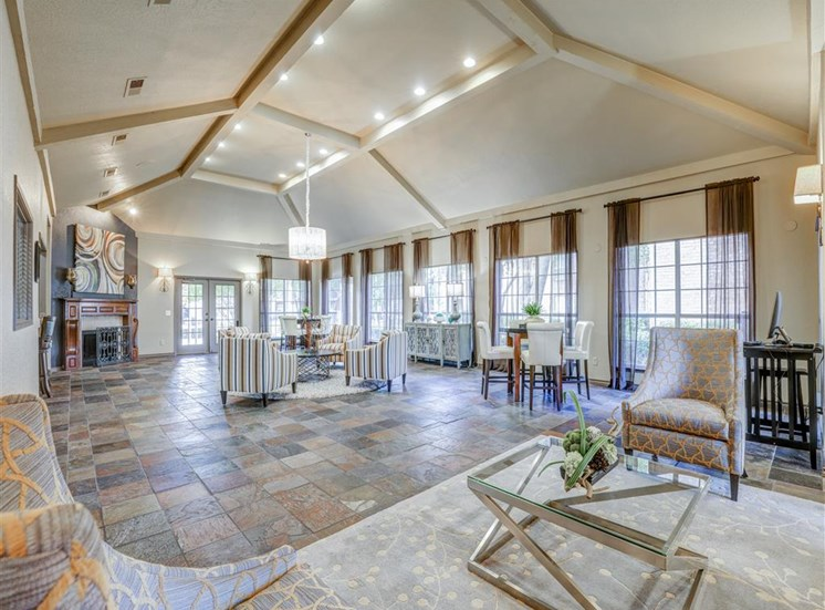 Clubhouse vaulted ceiling at Trinity Square Apartments in North Dallas, TX, For Rent. Now leasing 1 and 2 bedroom apartments.